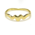 モチーフリング 指輪(ウェーブ・波)(真鍮ブラス・ゴールドカラー)(1個)