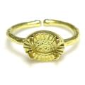 ブラスリング 真鍮 指輪 4本爪 空枠 カボション 6×4mm ゴールドカラー(3個)