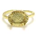 ブラスリング 真鍮 指輪 4本爪 空枠 カボション 8×6mm ゴールドカラー(2個)