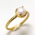 淡水パール指輪ハンマードリング(真珠)4本爪(カボションラウンド6mm)(真鍮ブラス・ゴールドカラー)(1個)