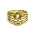ハンマードリング 指輪 3mm+5mm 4本爪カボション空枠(石枠)(真鍮ブラス・ゴールドカラー)(1個)