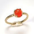 天然石リング 指輪 カーネリアン ハンマードリング(4本爪 カボション ラウンド 5mm)(真鍮ブラス・ゴールドカラー)