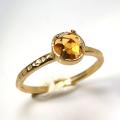 天然石リング 指輪 シトリン ローズカット ハンマードリング(4本爪 カボション ラウンド 5mm)(真鍮ブラス・ゴールドカラー)