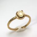 天然石リング 指輪 シトリン ハンマードリング(4本爪 カボション ラウンド 5mm)(真鍮ブラス・ゴールドカラー)