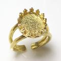 指輪空枠 リングクラウン(ベゼルセッティング/カボション用)(オーバル12×10mm)(真鍮ブラス・ゴールドカラー)(1個)