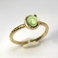 天然石リング 指輪 ペリドット ハンマードリング(4本爪 カボション ラウンド 5mm)(真鍮ブラス・ゴールドカラー)