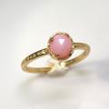 天然石リング 指輪 ピンクオパール ローズカット ハンマードリング(4本爪 カボション ラウンド 5mm)(真鍮ブラス・ゴールドカラー)