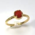 天然石リング 指輪 レッドオニキス ハンマードリング(4本爪 カボション ラウンド 5mm)(真鍮ブラス・ゴールドカラー)