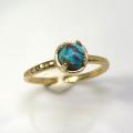 天然石リング 指輪 コッパーターコイズ ハンマードリング(4本爪 カボション ラウンド 5mm)(真鍮ブラス・ゴールドカラー)