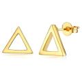 トライアングルピアス 三角(10mm×12mm) キャッチ付き 真鍮ブラス・ゴールドカラー(1ペア)