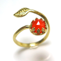 天然石カーネリアン<7月誕生石>・ローズカット指輪リング・リーフ(ベゼルカボションラウンド・6mm)(真鍮ブラス・ゴールドカラー)(1個)