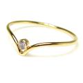 人工ダイヤモンド類似石・合成モアッサナイト リング(指輪) 2mm AAA(ラウンド・ベゼル)14KGF ゴールドフィルド