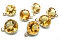 ゴールドフィルド・チャーム/天然石シトリン<11月誕生石>(6mm)(ベゼルセッティング)「14kgf」(1個)