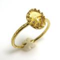 シトリン<11月誕生石>天然石・指輪ハンマードリング(カボションオーバル・8×6mm)(真鍮ブラス・ゴールドカラー)(1個)