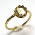 シトリン 指輪 リング 天然石<11月誕生石>ハンマード ラウンド6mm 真鍮ブラス・ゴールドカラー/1個