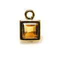 14kgfチャーム/天然石シトリン(スクエア4mm)ベゼル「ゴールドフィルド」(1個)