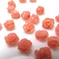 コーラル ルース 薔薇バラ (珊瑚・サンゴ)(染・ピンク)/片穴 ビーズ 6~7mm×6mm(6個)