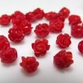 コーラル ルース 薔薇バラ (珊瑚・サンゴ)(染・レッド)/片穴 ビーズ 6~7mm×6mm(6個)