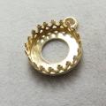 ペンダント空枠 チャームクラウン(ベゼルセッティング/カボション用)(ラウンド・10mm)(真鍮ブラス・ゴールドカラー)(6個)