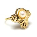 淡水パールリング真珠(14kgf指輪)(デザインA・カボション5mm)(サイズ目安:7号)「ゴールドフィルド」(1個)
