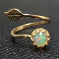 天然石エチオピアンオパール<10月誕生石>指輪リング・リーフ(ベゼルカボションラウンド・6mm)(真鍮ブラス・ゴールドカラー)(1個)
