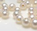 淡水パール真珠(ホワイト系)/片穴パール(ラウンド3〜3.5mm)(8個)