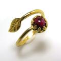 天然石ガーネット<1月誕生石>指輪リング・リーフ(ベゼルカボションラウンド・6mm)(真鍮ブラス・ゴールドカラー)(1個)