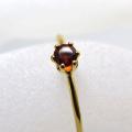 14kgfリング(指輪)天然石ガーネット<1月誕生石>3mm(ラウンド)(サイズ目安:7号)「ゴールドフィルド」(1個)
