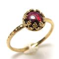 ガーネット 指輪 リング 天然石<1月誕生石>ハンマード ラウンド6mm 真鍮ブラス・ゴールドカラー/1個