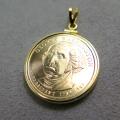 大統領1ドル貨(初代ジョージワシントン)・コインペンダント・バチカン付「14kgf・ゴールドフィルド」(1個)