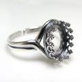 銀古美 指輪リング空枠クラウン(ベゼルセッティング/カボション用)(オーバル 10×8mm)(真鍮ブラス・アンティークシルバー)(1個)