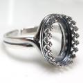 銀古美 指輪リング空枠クラウン(ベゼルセッティング/カボション用)(オーバル 14×10mm)(真鍮ブラス・アンティークシルバー)(1個)