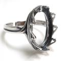 銀古美 指輪リング空枠クラウン(ベゼルセッティング/カボション用)(オーバル 18×13mm)(真鍮ブラス・アンティークシルバー)(1個)