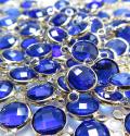 ガラス リンク コネクター(ラウンド8mm) ブルー (真鍮ブラス・ゴールドカラー)(10個)