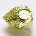 ブラス指輪 デザインリング 空枠 8mm カボション用 真鍮ブラス・ゴールドカラー(1個)