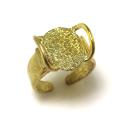 ゴールド ブラスリング 真鍮 指輪 2本爪 空枠 皿14×12mm ゴールドカラー(1個)