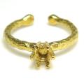 ブラス リング ハンマード 指輪 ラウンド 6本爪 5mm(3.5~4.5mm)空枠 真鍮ブラス・ゴールドカラー(3個)