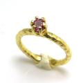 ロードライトガーネット リング 天然石 指輪 4mm 真鍮ブラス・ゴールドカラー