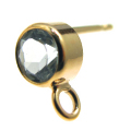 ポストピアス(カン付)【4mm・天然石ブルートパーズ<11月誕生石>】「14kgf(ゴールドフィルド)」(1ペア/2個)