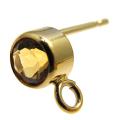 ポストピアス(カン付)【4mm・天然石シトリン<11月誕生石>】「14kgf(ゴールドフィルド)」(1ペア/2個)