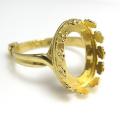 指輪リング空枠・フラワー(ベゼルセッティング/カボション用)(オーバル・14×10mm)(真鍮ブラス・ゴールドカラー)(2個)