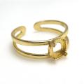 指輪リング空枠4本爪(カボション用)(ラウンド・5mm)(真鍮ブラス・ゴールドカラー)(4個)