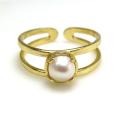 淡水パール指輪リング(真珠)4本爪(カボションラウンド・5mm)(真鍮ブラス・ゴールドカラー)(1個)