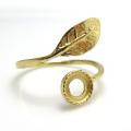 指輪リング空枠・リーフ(カボション用)(ラウンド・6mm)(真鍮ブラス・ゴールドカラー)(5個)