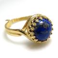 天然石ラピス(ラピスラズリ<12月誕生石>)指輪リング(カボションラウンド・10mm)(真鍮ブラス・ゴールドカラー)(1個)