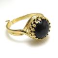 天然石ブラックオニキス・指輪リング(カボションラウンド・10mm)(真鍮ブラス・ゴールドカラー)(1個)