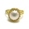 淡水パール指輪リング(真珠)(カボションラウンド・10mm)(真鍮ブラス・ゴールドカラー)(1個)