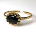 天然石指輪  ブラックオニキス ハンマードリング(カボションオーバル横8×6mm)(真鍮ブラス・ゴールドカラー)(1個)