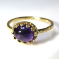 天然石指輪  アメジスト ハンマードリング(カボションオーバル横8×6mm)(真鍮ブラス・ゴールドカラー)(1個)