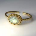天然石指輪  ラブラドライト ハンマードリング(カボションオーバル横8×6mm)(真鍮ブラス・ゴールドカラー)(1個)